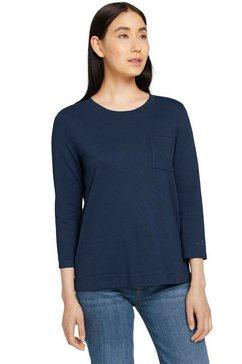 tom tailor shirt met 3-4-mouwen met biokatoen blauw