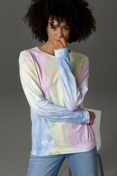 aniston casual sweatshirt met batikmotief multicolor