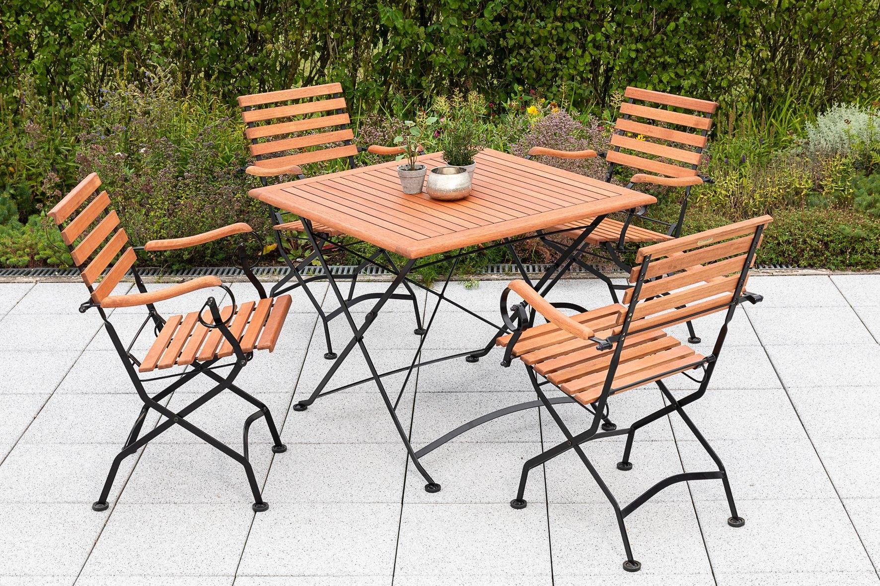 Op zoek naar een MERXX Tuinmeubelset Kasteeltuin 4 klapstoelen met tafel (5-delig)? Koop online bij OTTO