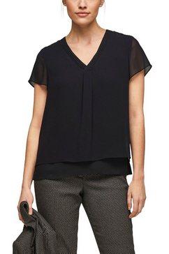 s.oliver black label blouse met korte mouwen in soepele laagjes-look zwart