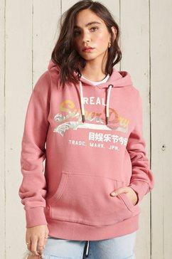 superdry hoodie vl itago hood met print roze