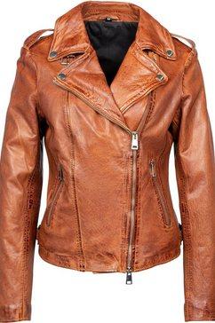 freaky nation leren jack new undress me!-fn bikerjack met coole ritsdetails bruin
