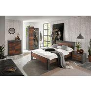home affaire slaapkamerserie »brooklyn« (set, eenpersoonsbed met houten hoofdeinde, nachtkastje, kleerkast 2 deuren, ladekast) grijs