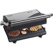 bestron panini-grill uitklapbaar ook als sandwich- en contactgrill te gebruiken, met antiaanbaklaag, zwart zwart