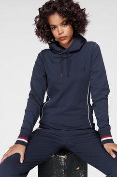 h.i.s hoodie athleisure hoody met witte piping blauw