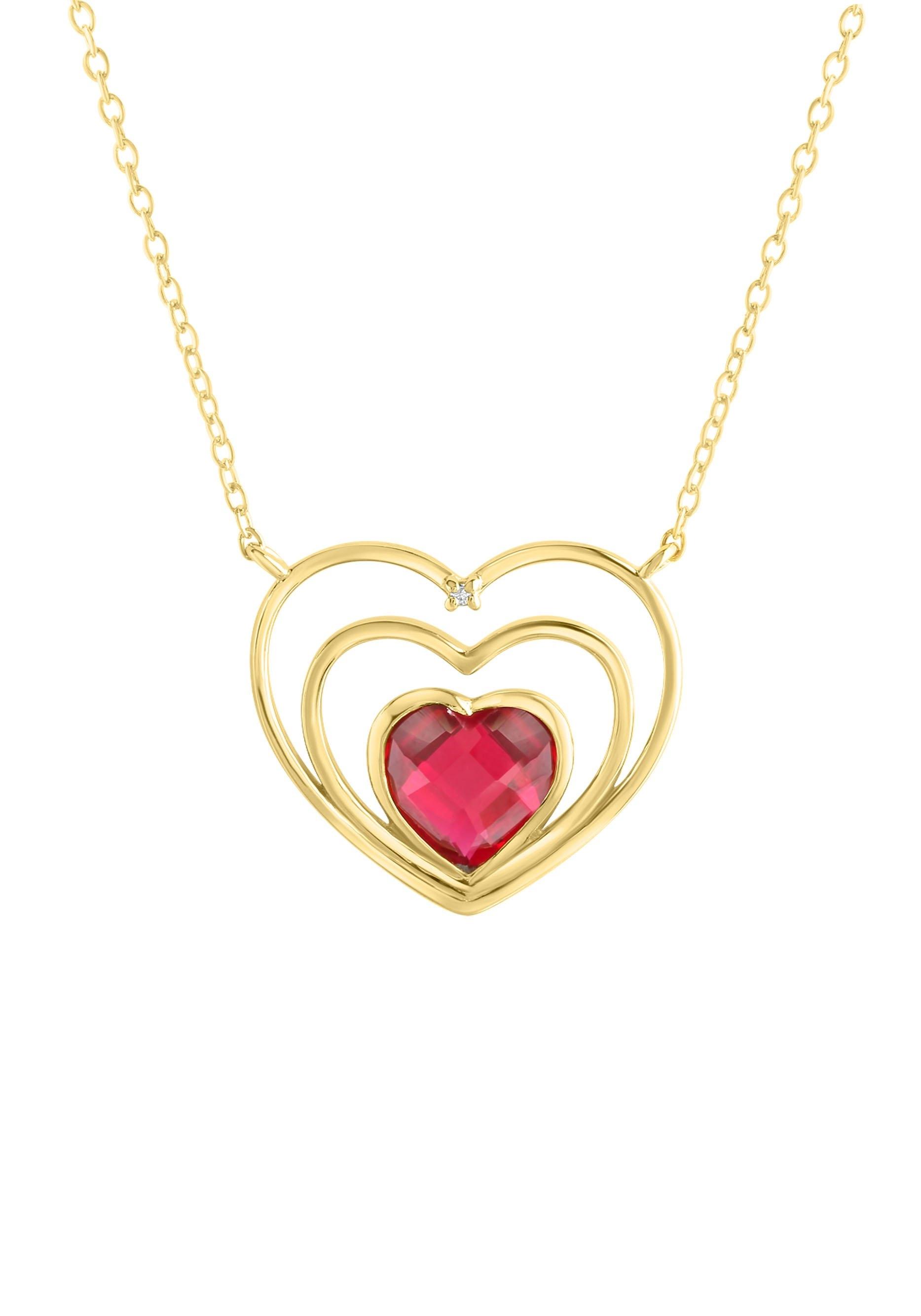 Firetti ketting met hanger Romantisch hart, glanzend en massief met synthetische robijn en zirkoontjes bij OTTO online kopen