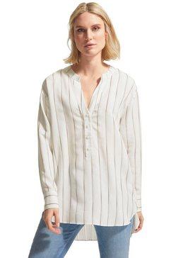 comma casual identity lange blouse met streepdessin met tuniekhals en knoopsluiting wit