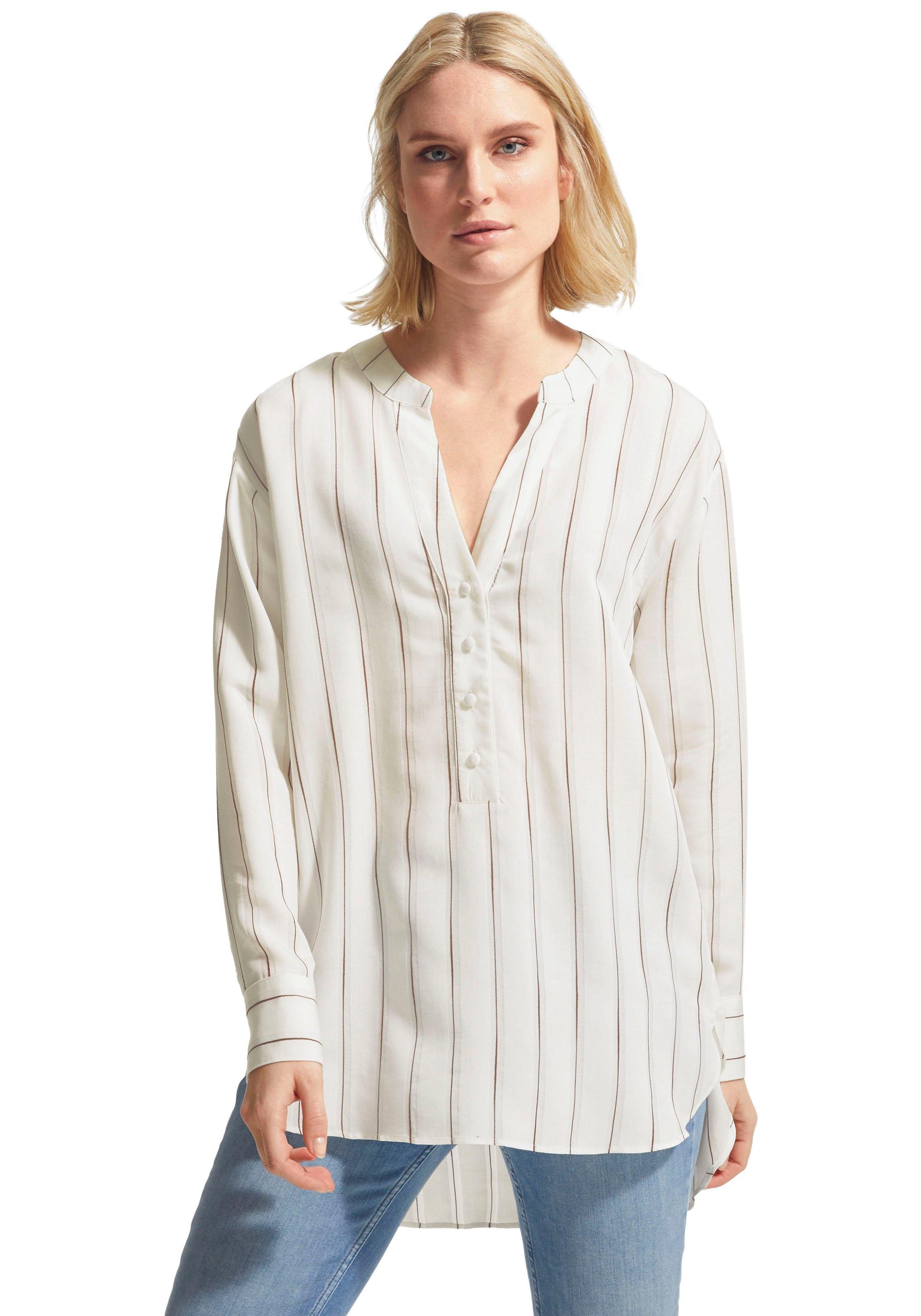 comma casual identity Lange blouse met streepdessin met tuniekhals en knoopsluiting - verschillende betaalmethodes