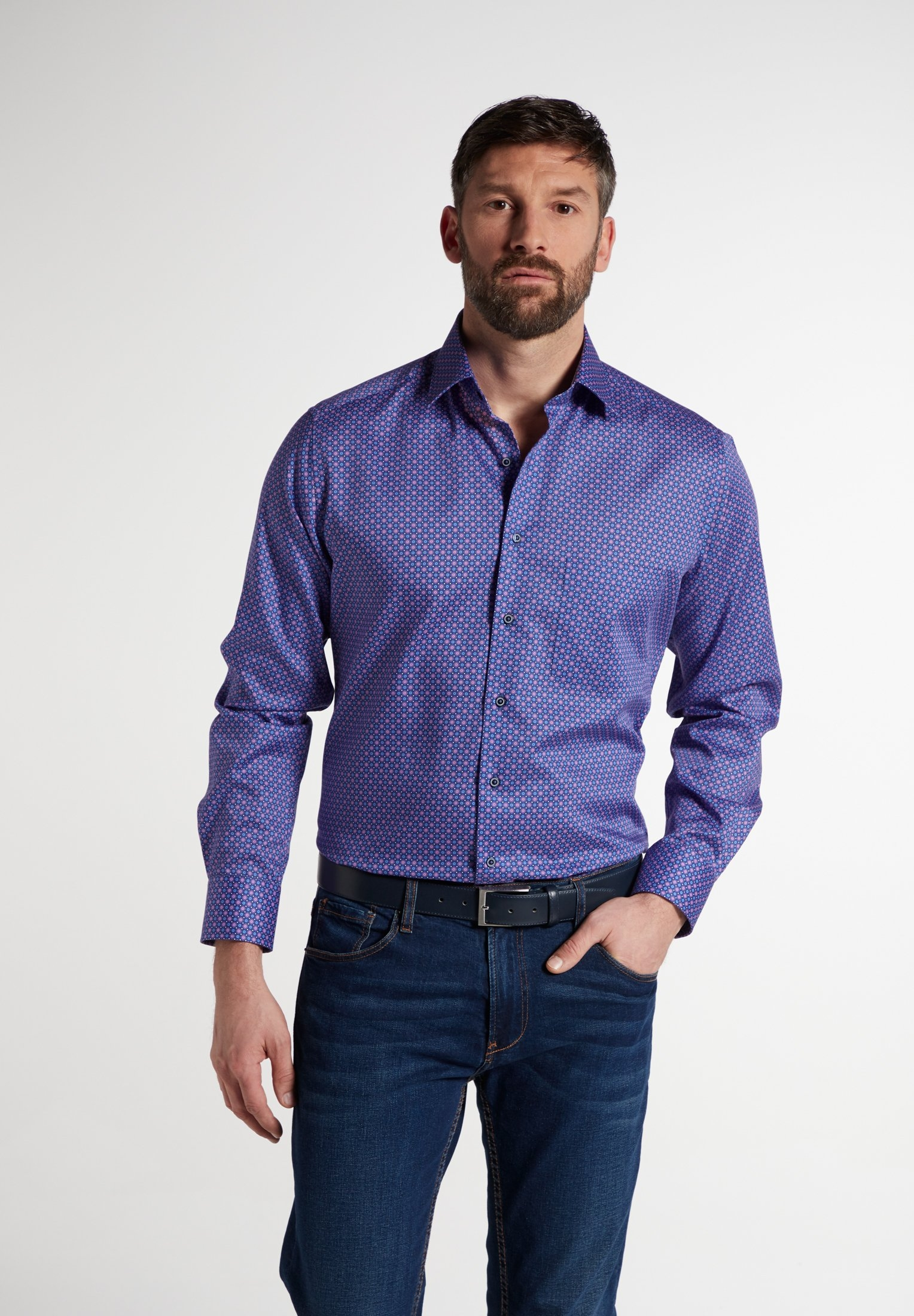 Eterna overhemd met lange mouwen MODERN FIT Lange mouwen overhemd nu online kopen bij OTTO