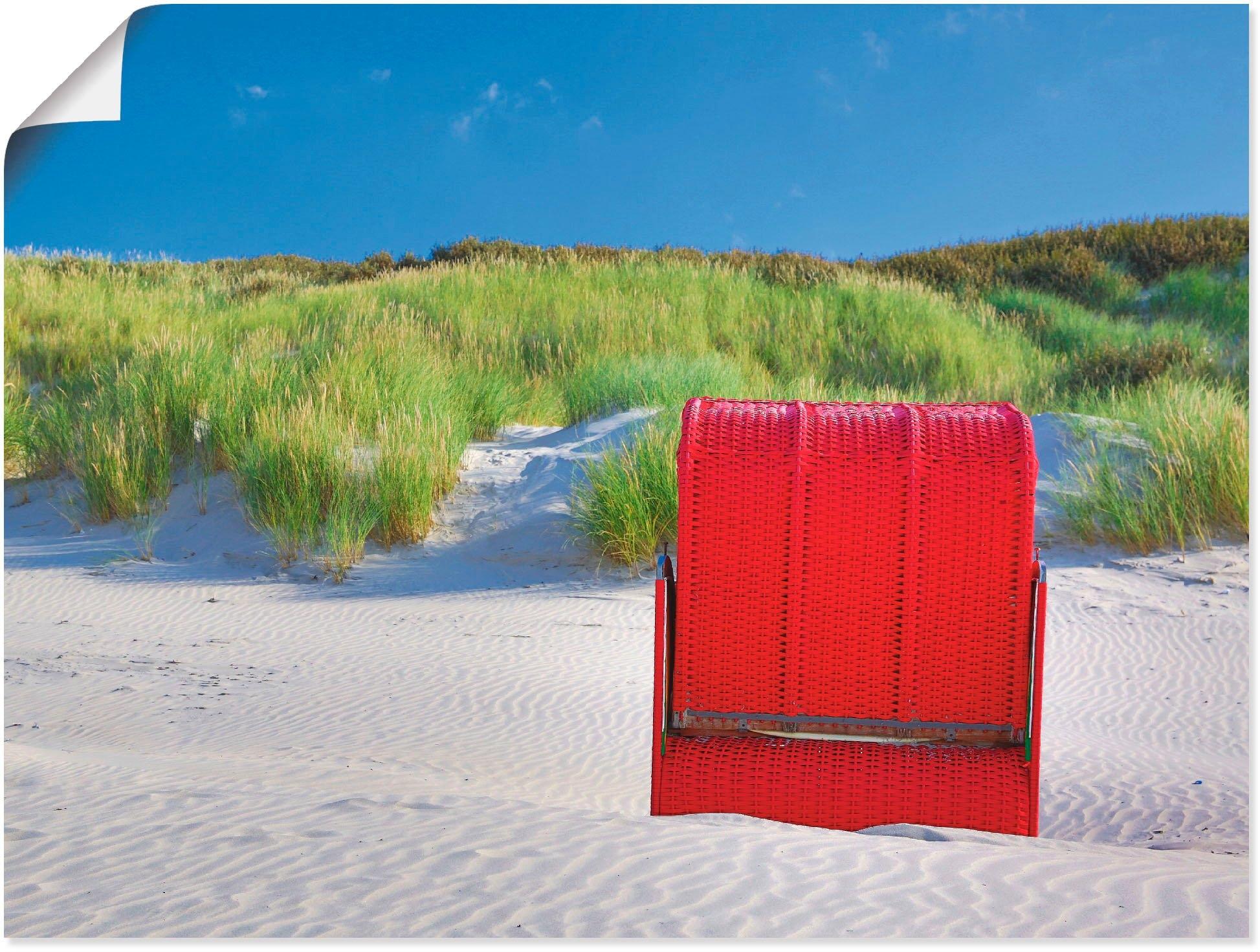 Artland artprint Rode strandstoel in vele afmetingen & productsoorten -artprint op linnen, poster, muursticker / wandfolie ook geschikt voor de badkamer (1 stuk) nu online kopen bij OTTO