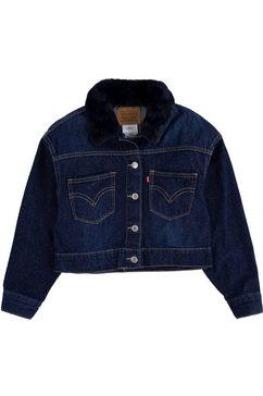 levi's kidswear jeansjack oversized trucker met pluizige kraag blauw