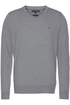 tommy hilfiger trui met v-hals tailored grijs