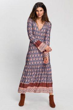 boysen's midi-jurk met leuk randdessin blauw