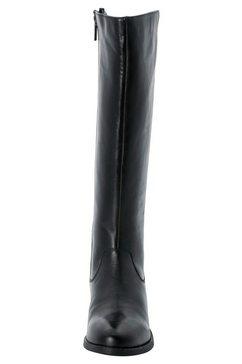 sheego laarzen met wijde schacht van leer met stretchinzet zwart