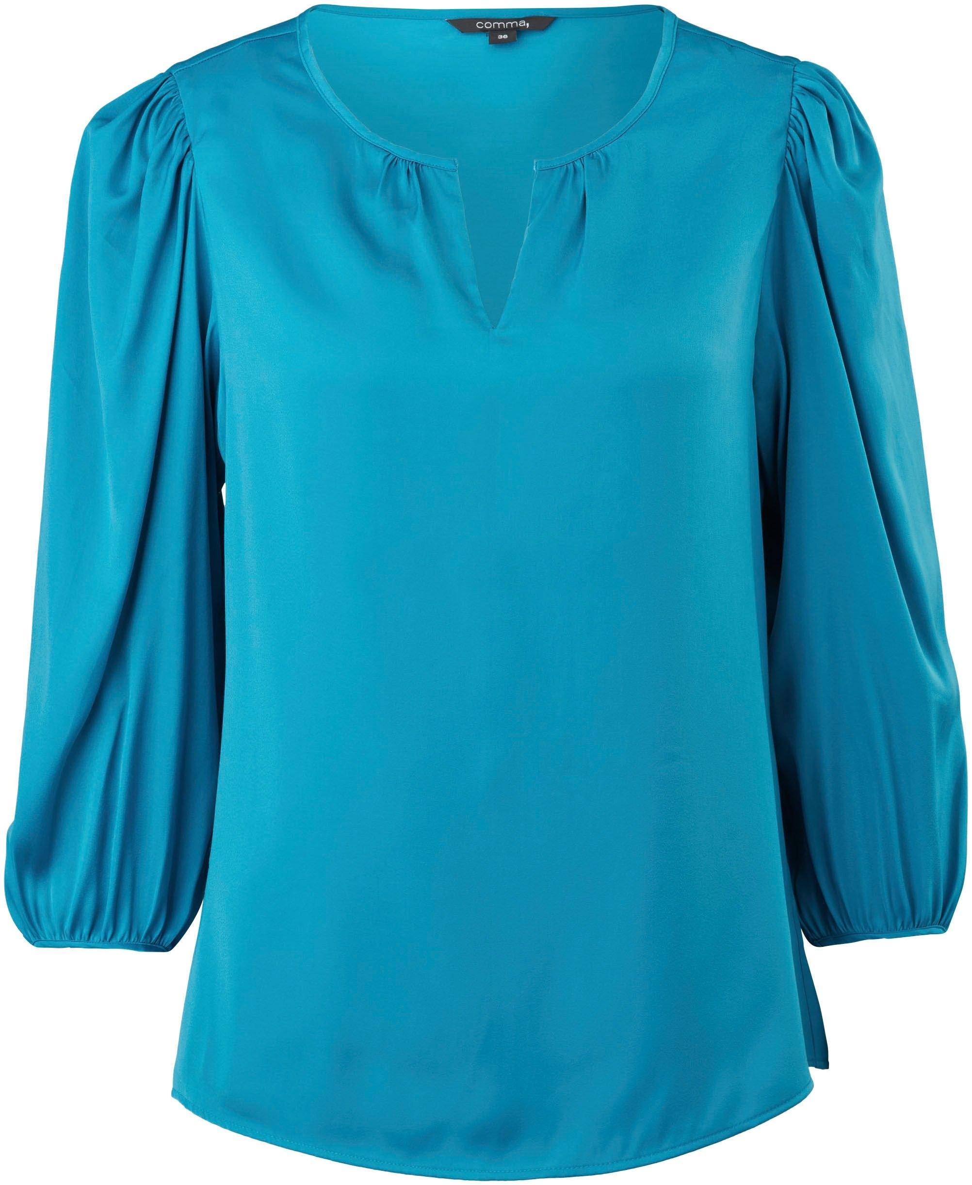 Comma satijnen blouse met tuniekhals en wijde 3/4-mouwen online kopen op otto.nl