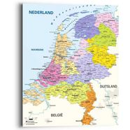 reinders! artprint landkaart nederland - holland - nederlands - steden (1 stuk) multicolor