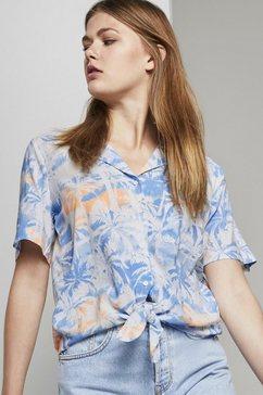 tom tailor denim blouse met korte mouwen »hawaii-hemd mit palmen-print zum knoten« blauw