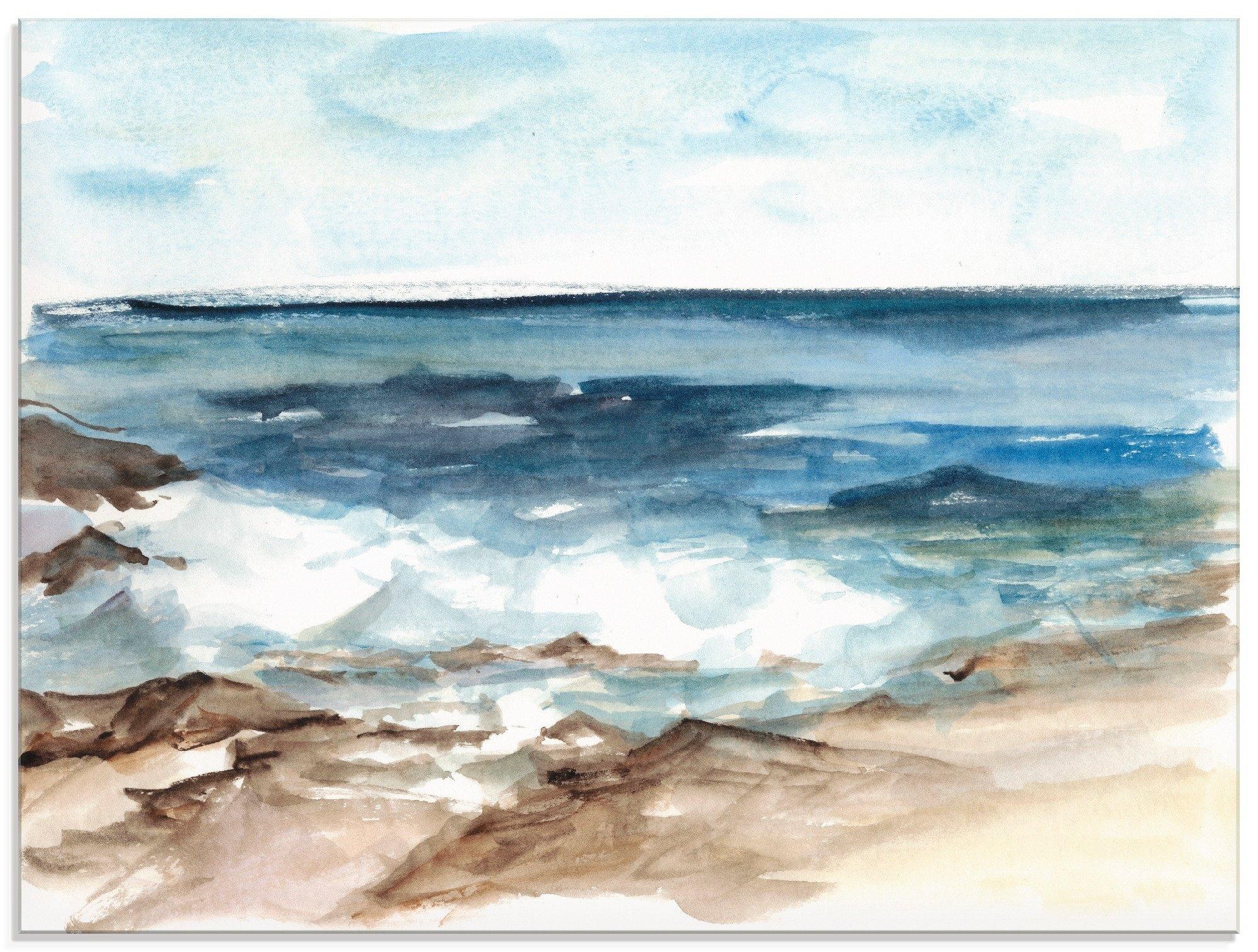 Artland print op glas Waterverf kust V (1 stuk) - gratis ruilen op otto.nl