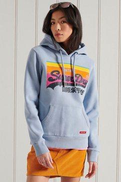superdry hoodie 43 vl cali hood met logoprint blauw