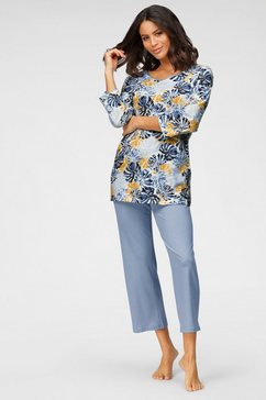 cybèle pyjama met bladerprint blauw