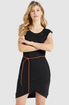 khujo shirtjurk cajsa zomerjurk met een bindstrik in de taille zwart