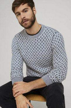 tom tailor gebreide trui »pullover mit schachbrett-struktur« blauw