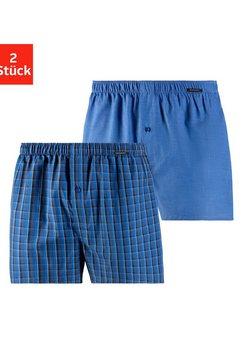 schiesser geweven boxershort geweven kwaliteit (2 stuks) blauw