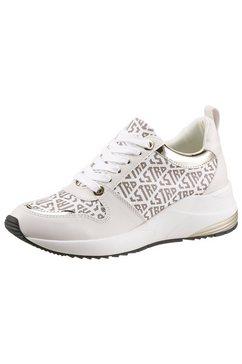 la strada sneakers met sleehak fashion sneaker on wedge met all-over logoprint wit