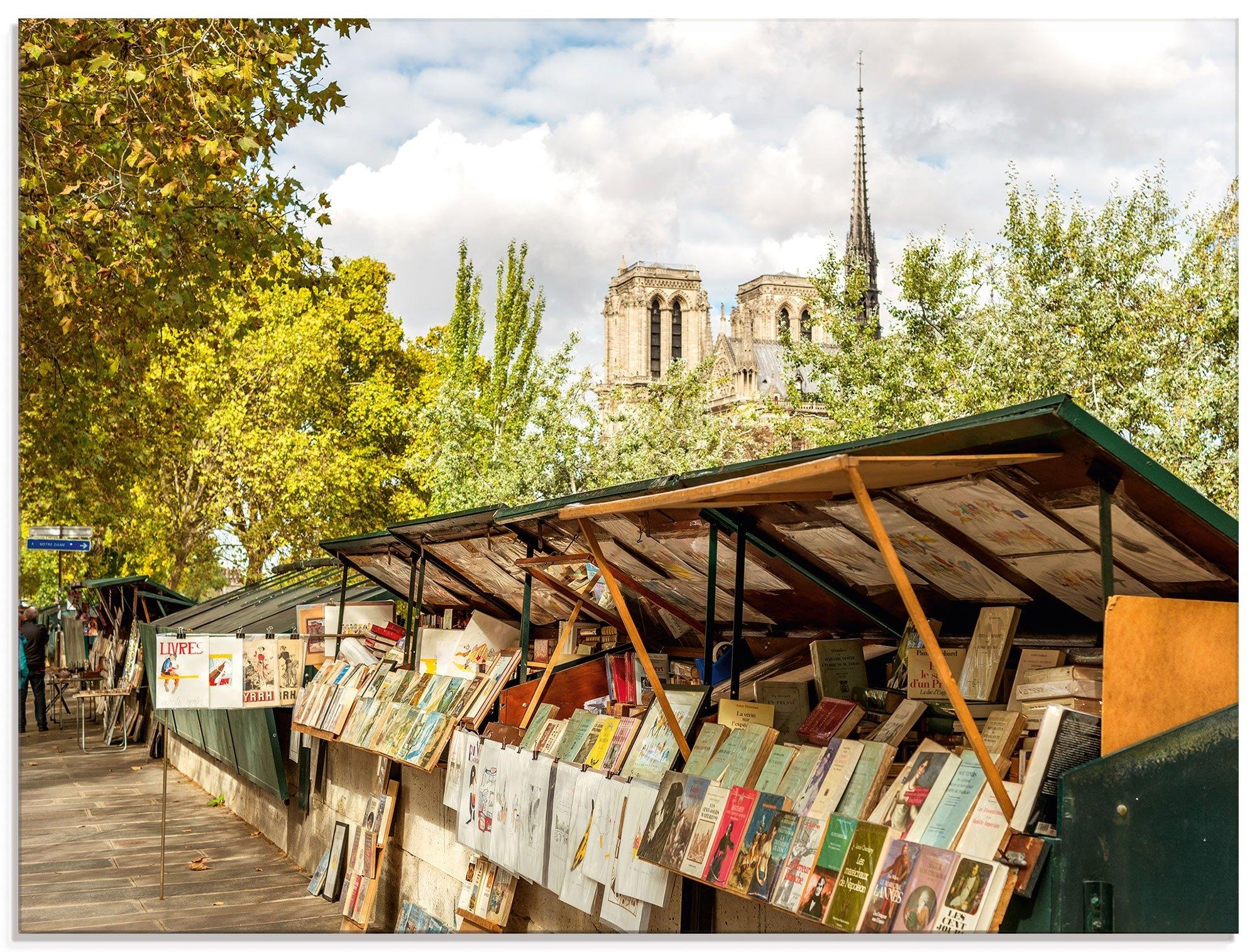Artland print op glas »Paris Büchermarkt« online kopen op otto.nl
