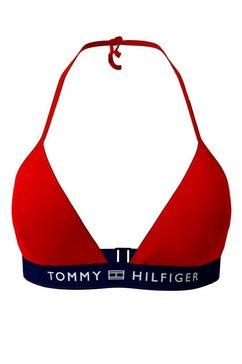 tommy hilfiger triangel-bikinitop met logoband rood