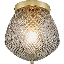 nordlux plafondlamp orbiform structuur glas kap, messing applicatie grijs