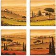 artland artprint op linnen knollenland en veld klaprozen toscaans landschap (4 stuks) bruin