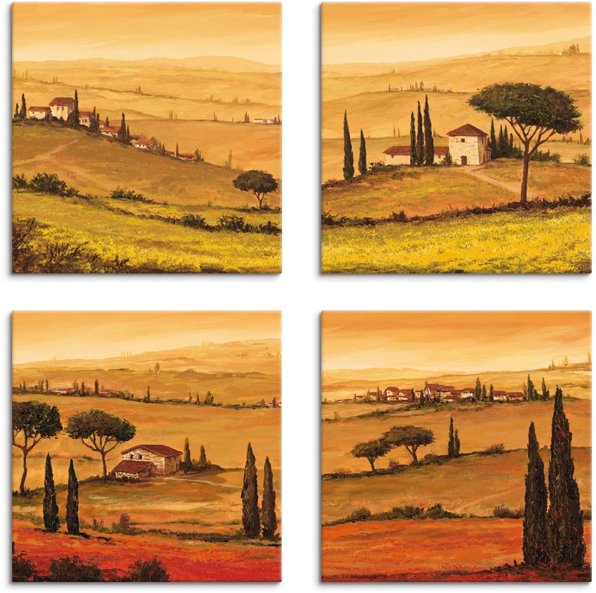 Artland artprint op linnen Knollenland en veld klaprozen Toscaans landschap (4 stuks) goedkoop op otto.nl kopen