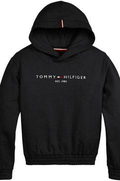 tommy hilfiger hoodie essential hoodie met elastiek zwart