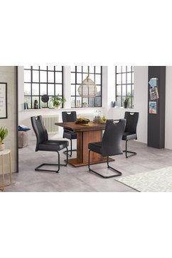 hela eethoek bestaand uit 4x erica stoel  1x ariana tafel uittrekbaar door binneinn geplaatste inlegbladen 120-160 cm (set, 5-delig) zwart