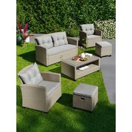 konifera loungeset »lorca«, 12-delig, 2-zitsbank, 2 fauteuils, tafel 90x55 cm, poly-rotan beige