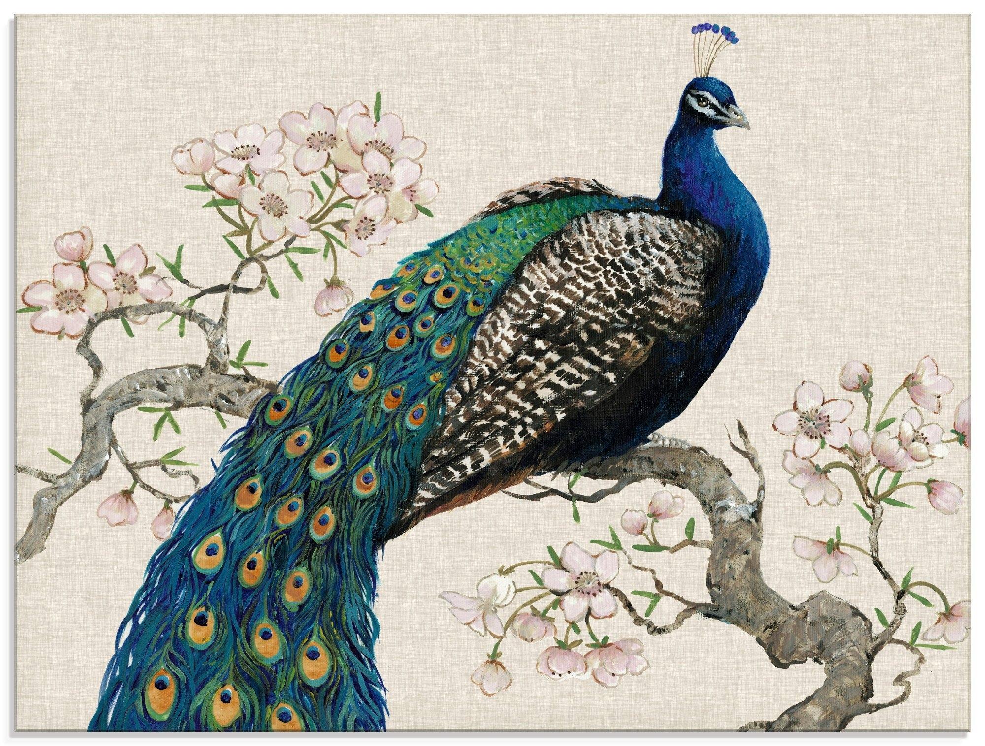 Artland print op glas Pauw & bloemen I (1 stuk) nu online bestellen