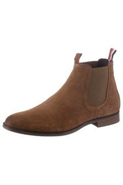 tommy hilfiger chelsea-boots met twee aantreklussen bruin