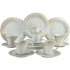 creatable koffieservies soft finesse rank ornament (set, 18 delig) beige