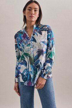 seidensticker blouse zonder sluiting zwarte roos lange mouwen v-hals print blauw
