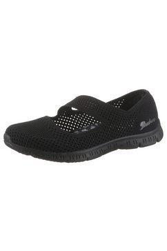 skechers ballerina's met riempje be-cool-chic peek in tricot-look zwart