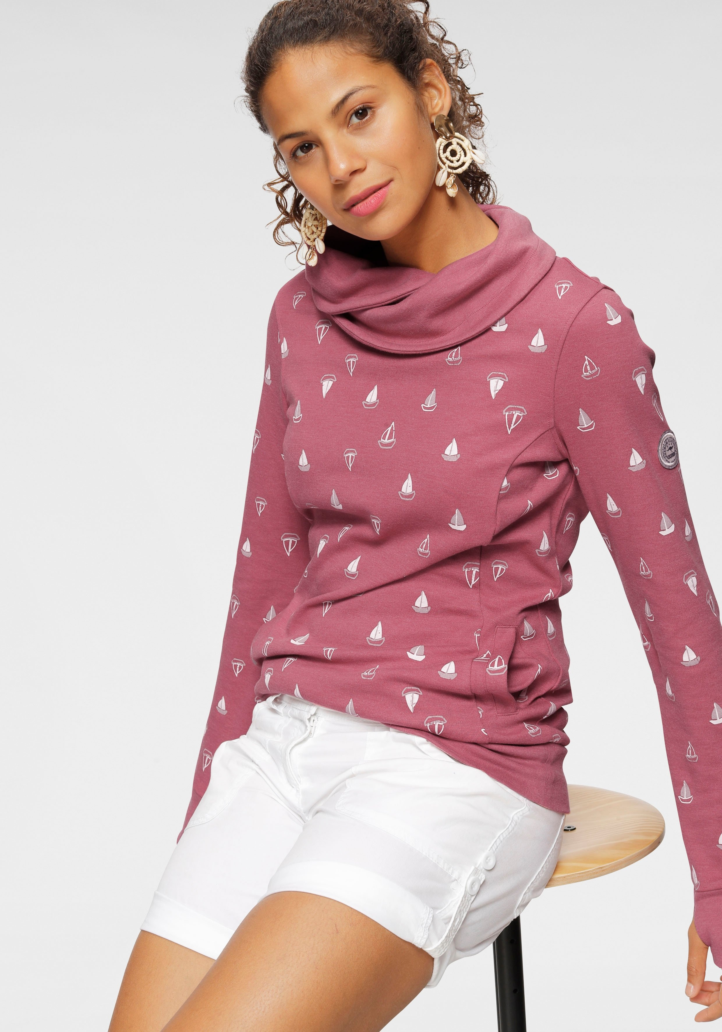 KangaROOS sweatshirt met warme ruime colkraag en print all-over - gratis ruilen op otto.nl
