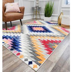 cosmoliving by cosmopolitan vloerkleed bodrum tribal kelim look, woonkamer multicolor