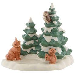 goebel decoratief figuur dieren in het bos in bescherming de bomen groep bomen met vos, eekhoorntje en uil wit