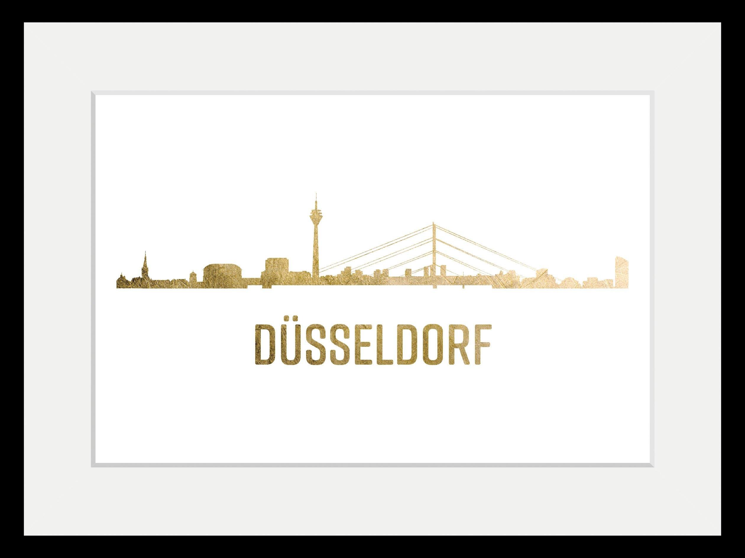 queence wanddecoratie »Düsseldorf Skyline GOLD« veilig op otto.nl kopen