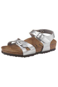 birkenstock sandalen rio electric in coole metallic-look, schoenwijdte: smal zilver