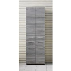 trendteam hoge kast skin hoogte 182 cm, badkamerkast met fronten in hoogglans- of hout-look, met twee laden grijs