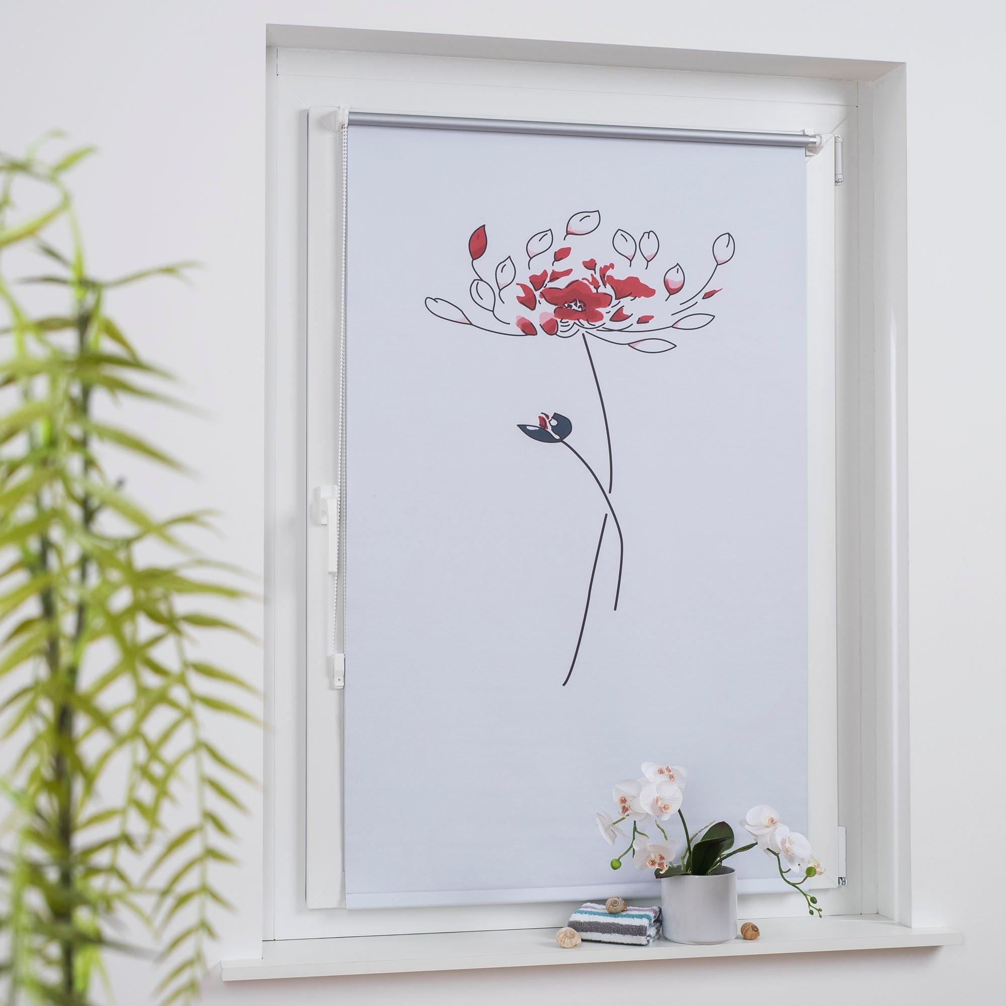 Liedeco rolgordijn met zijbediening Printdesign bloem Klemmfix Rollo Design Bloem (1 stuk) nu online bestellen