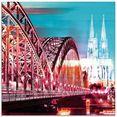 artland print op glas keulen skyline abstracte collage 13 (1 stuk) blauw