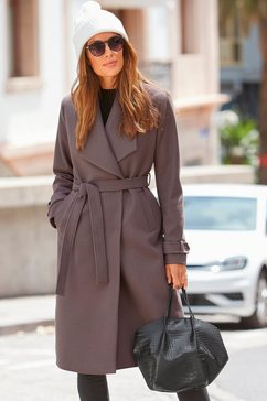 lascana wollen jas met een bindceintuur bruin